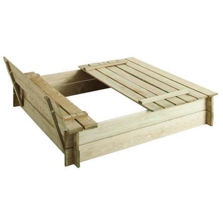 bac à sable en bois avec couvercle