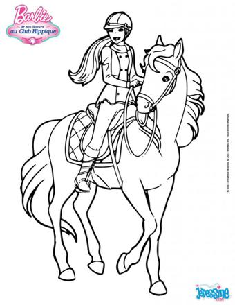 barbie cheval coloriage