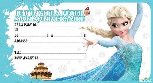 carte d invitation anniversaire la reine des neiges