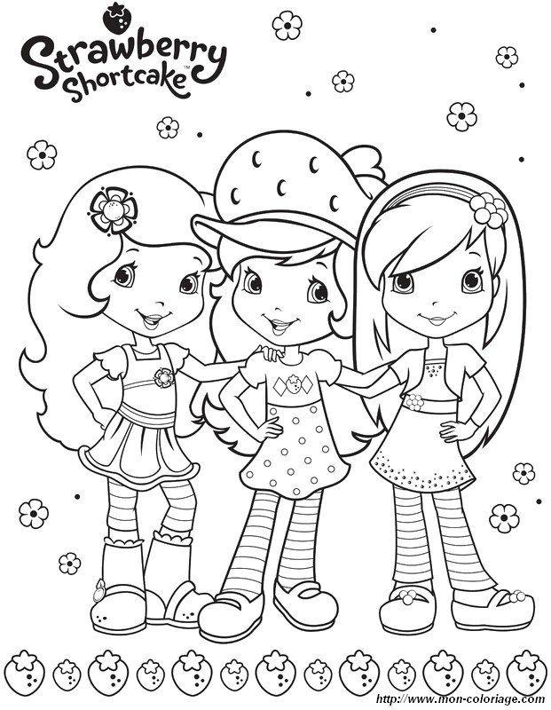 coloriage charlotte aux fraises et ses amies