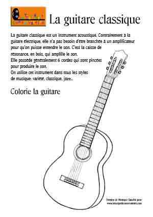 coloriage guitare classique