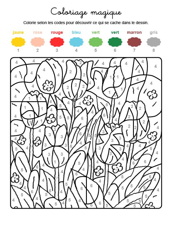 coloriage magique printemps