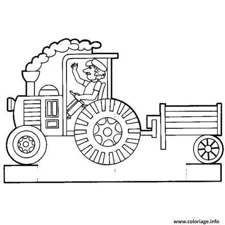 dessin tracteur avec remorque