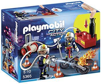 playmobil 5365 pompiers avec lance à incendie
